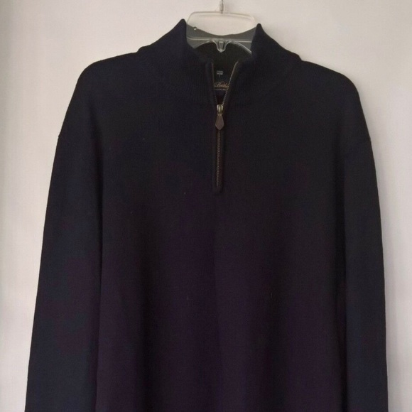 Brooks Brothers Blue Half Zip Up Saxxon Long Sleeve Sweater Size XL